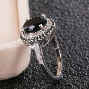 NEW 925 Silver Black Sapphire Ring